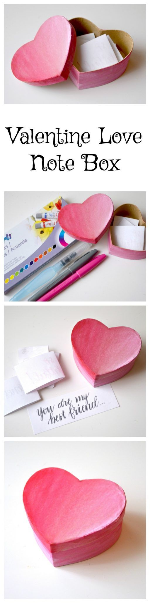 Handwritten love notes are a treasured gift! #ThatsMyPoint Don't you agree? Make this Valentine Love Note Box with @PentelofAmerica supplies! #ad