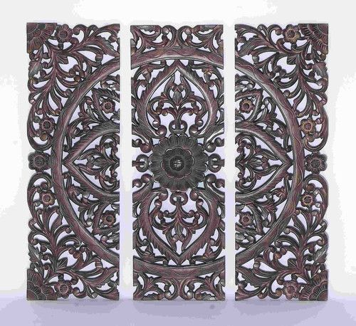 Jungle Wood Wall Decor : Large dark carved wood wall art panel moroccan
