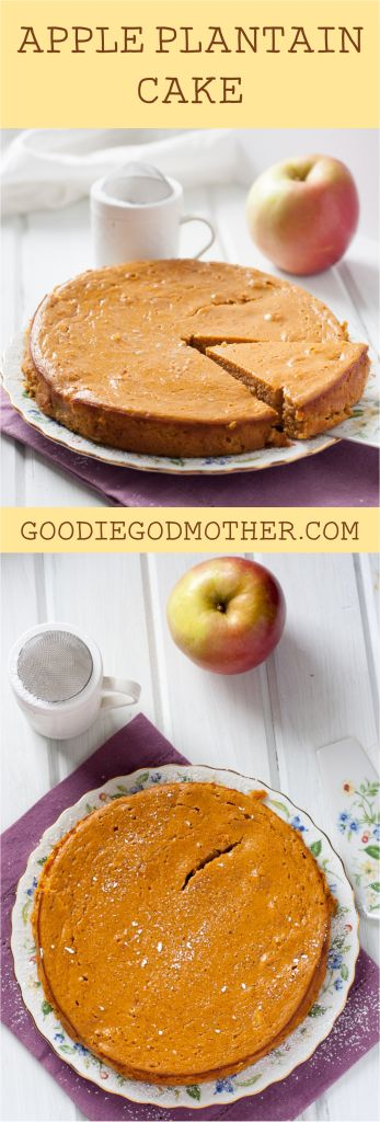 Gluten free plantain apple cake you make in the BLENDER! Easy, refined sugar free, option included for oil free, and paleo-approved.