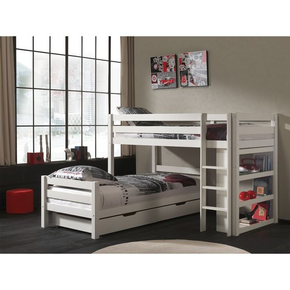 lit superpos claire bas blanc. Black Bedroom Furniture Sets. Home Design Ideas