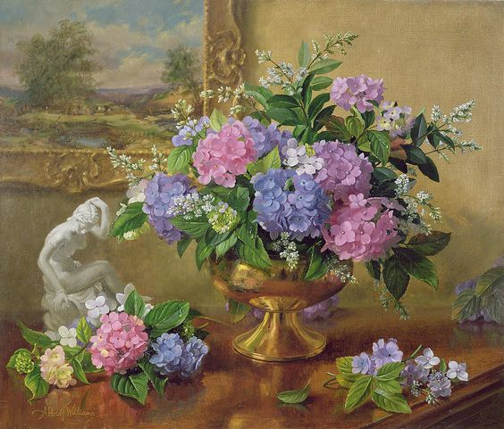Albert Williams (1922-2010) — Still Life of Hydrangeasa nd Lilacs  (900x768):