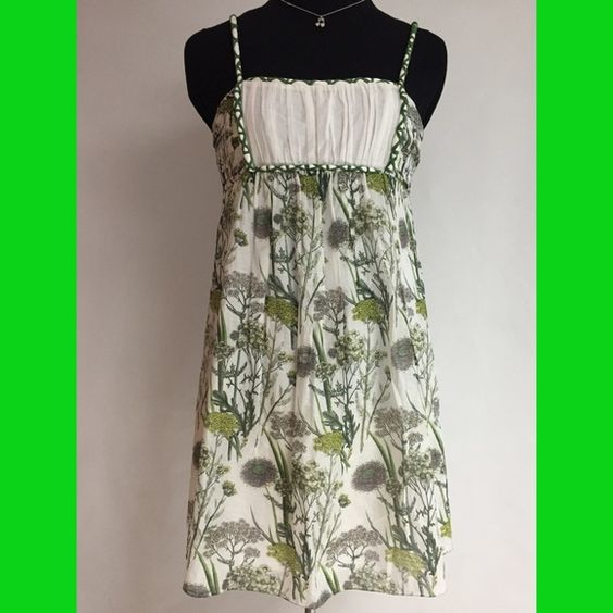 Empire Green Summer Dress NWOT Free flowy functional Empire Summer Dress very light weight cotton+silk. Beautiful decorative trims and straps blouson top A-line bottom fully lined 36ins long. Pretty! It fits M. Studio M Dresses