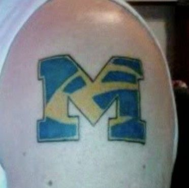 Block m tattoo loins tigers and wolverines oh my for Best tattoo artists in michigan