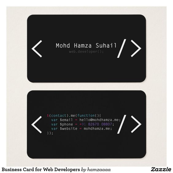 Business Card For Web Developers Zazzle Com In 2021 Business Cards Creative Innovative Business Cards Business Cards