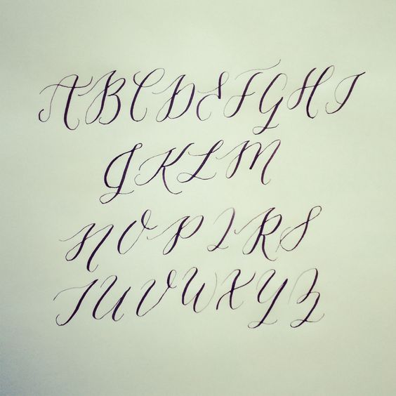 Learning calligraphy alphabet practice