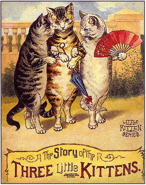 the book.... The Story of Three Litttle Kittens... #vintage #illustration,,#cats: