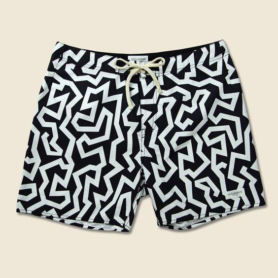 Colin Seamless Board Short - Black/White Maze Print