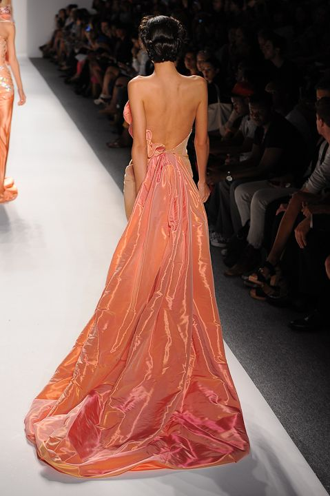 Strapless Iridescent Coral Evening Gown Globa Moda Evening Gowns Pretty Dresses Designer Evening Gowns
