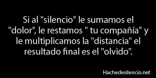 el dolor del silencio...tu voz era vibrante, me llenaba el alma...el olvido...tiene que llegar...por logica...no se puede estancar uno en el dolor del silencio, alguien volvera a poner musica en mi silencio....