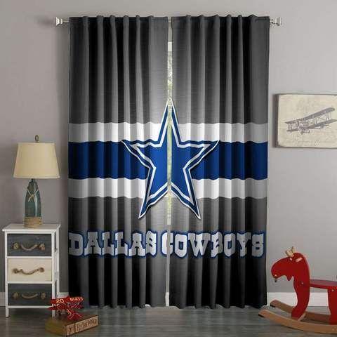 3d Printed Dallas Cowboys Style Custom Living Room Curtains Dallas Cowboys Room Decor Dallas Cowboys Decor Dallas Cowboys Room