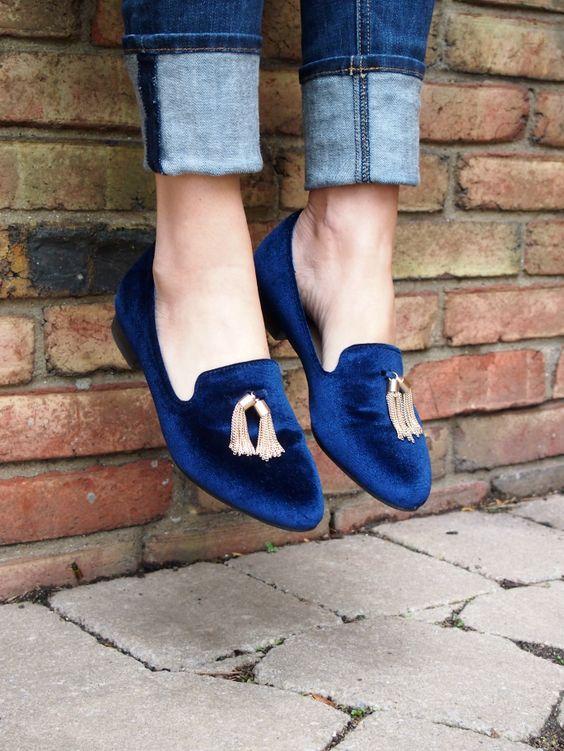 Sapato - Tassel Loafers - Salto Quadrado - Veludo - Azul: