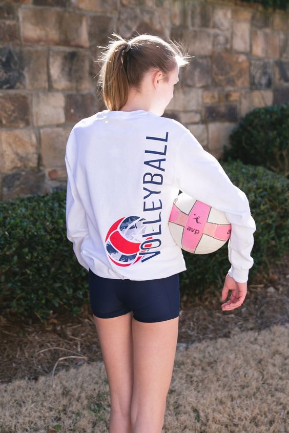 Girl's USA Volleyball White Long Sleeve Tee Front Pocket Tee - $25 at Sportabella.com!