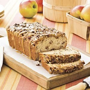 Sour cream is the secret to the rich, moist texture of this praline-apple quick bread recipe. There's no butter or oil in the batter—only in the glaze.
