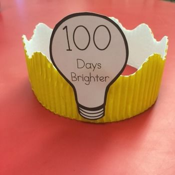 100th day of school crown template - 100 days brighter crown student lightbulbs and crowns