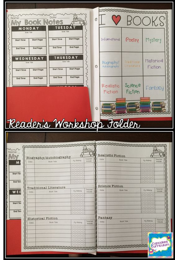 Reader's Workshop Folder Printables!  Finished book log with 9 different genres and a weekly independent reading book notes page.