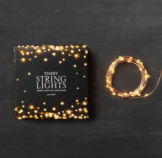 Restoration Hardware starry string lights. Amber lights on copper wire. $20 for 10ft. - Restoration Hardware Starry String Lights. Amber Lights On Copper