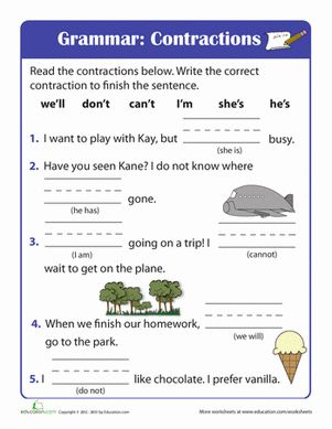 Printables 1st Grade Grammar Worksheets beginning grammar contractions activities first grade spelling worksheets contractions
