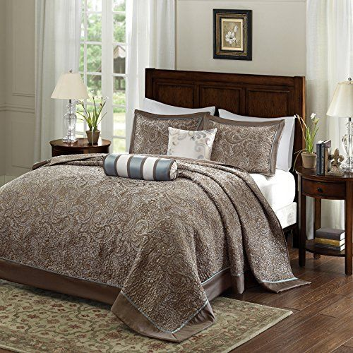 5 Piece 120 X 118 Oversized Blue Brown King Bedspread To The Floor Set Extra Long Jacquard Paisley Bedding Xtra Wi Brown Bed Frame Bed Spreads Paisley Bedding