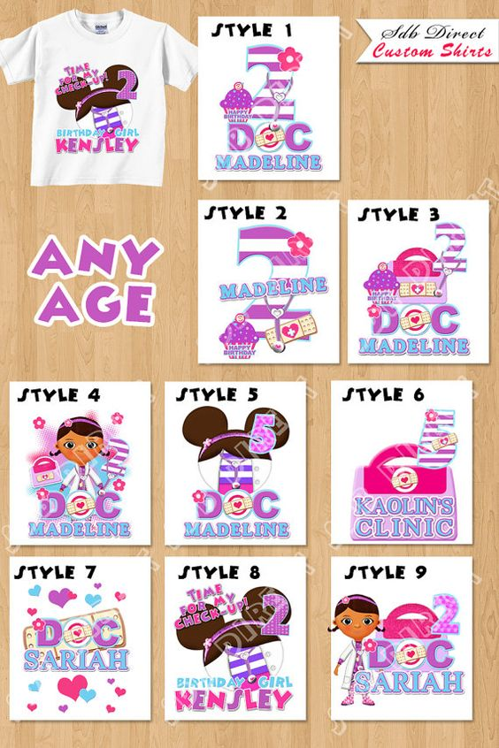 Shirts doc mcstuffins and custom shirts on pinterest for Doc mcstuffins birthday girl shirt