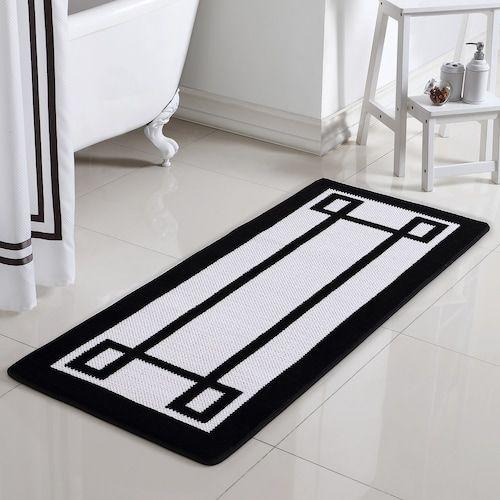 Vcny Greek Key Two Tone Jacquard Memory Foam Bath Rug Runner Memory Foam Bath Rugs Bath Runner Rugs Memory Foam