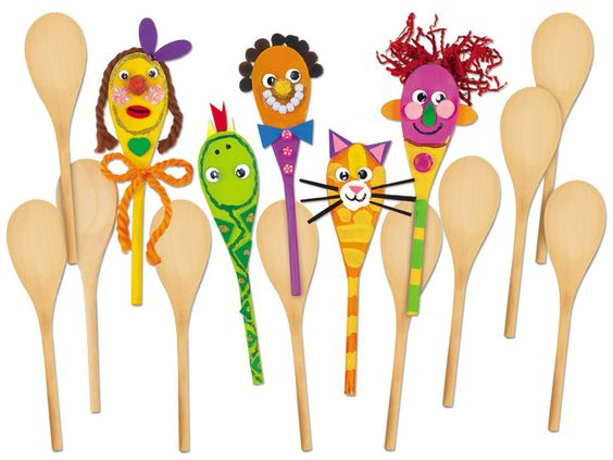 Make-A-Face Wooden Spoons - Set of 15