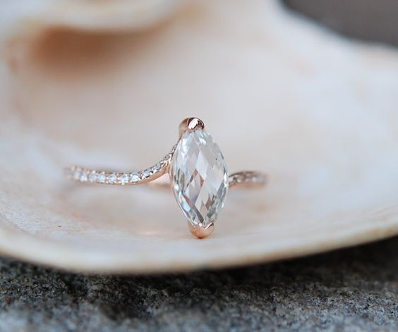 Marquise engagement ring. Rose gold engagement ring with White sapphire. Made to order.   This unique ring features a 1.5ct marquise sapphire. The
