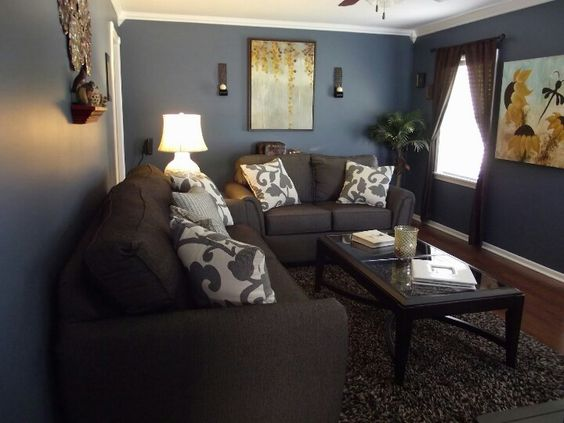 Our Living Room Sherwin Williams Smokey Blue Shot At 150