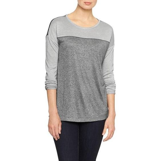 Gap Factory Marled Long Sleeve Tee (32 CAD) ❤ liked on Polyvore featuring tops, t-shirts, light grey marle, regular, gap t shirts, crew neck t shirt, gap tees, long sleeve t shirts and jersey tee
