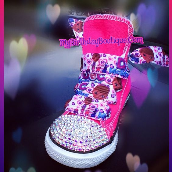 Doc mcstuffins birthday converse, Doc mcstuffins tutu set, hot pink Swarovski Crystal converse