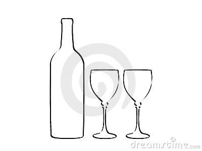Wine bottle and two glass by Yuliyan Velchev, via Dreamstime