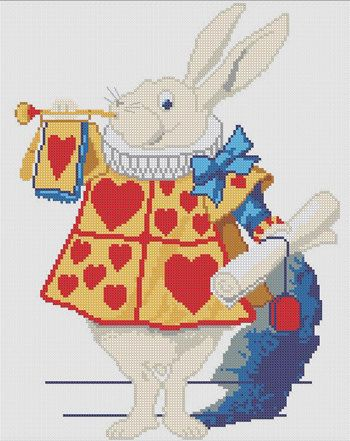 white owl cross stitch chart White Rabbit, Alice in Wonderland - chart samples