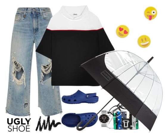 """""""!!!"""" by maria-laura-correa-da-silva ❤ liked on Polyvore featuring Crocs, R13, Proenza Schouler, Kenzo, Hunter and Design Lab"""