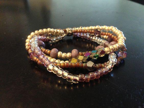 Multistrand lilac stretch bracelet, good for smaller wrists GIFT