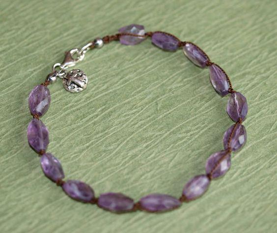 Woven Silk Amethyst Bracelet