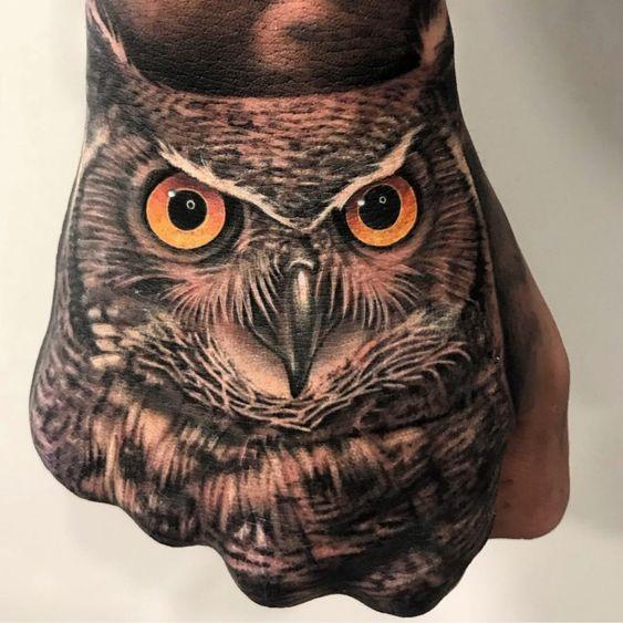 owl hand tattoo ideas for men