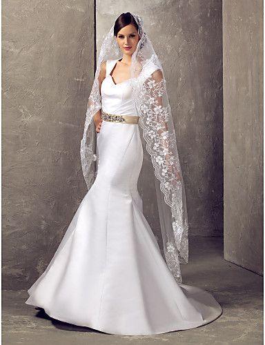 One-tier Chapel Wedding Veil With Applique Edge