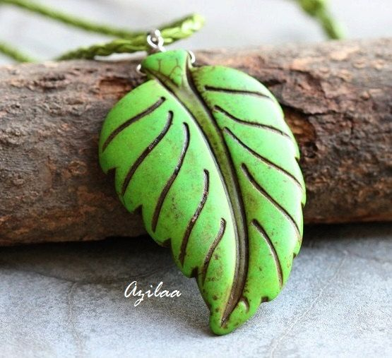 Green Leaf pendant  Carved pendant  Red leaf pendant  by Azilaa