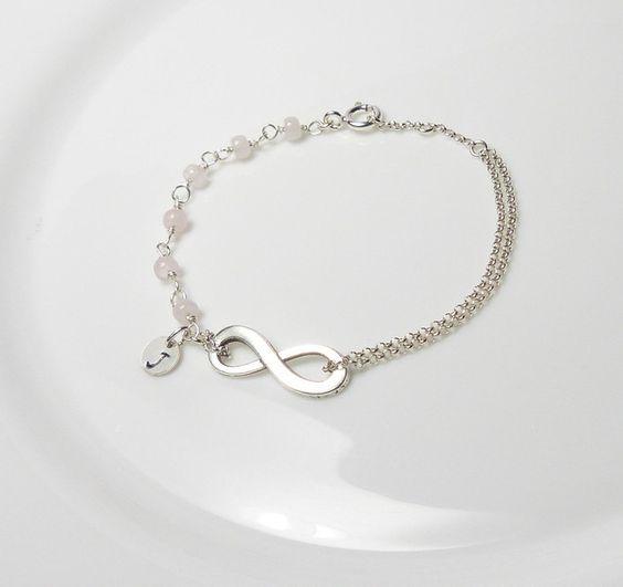 Namensarmband Rosenquarz Edelsteinarmband Unendlich Infinity ∞ Initial ∞ unendliche Liebe ∞ 925 Silber von Andressâ auf DaWanda.com
