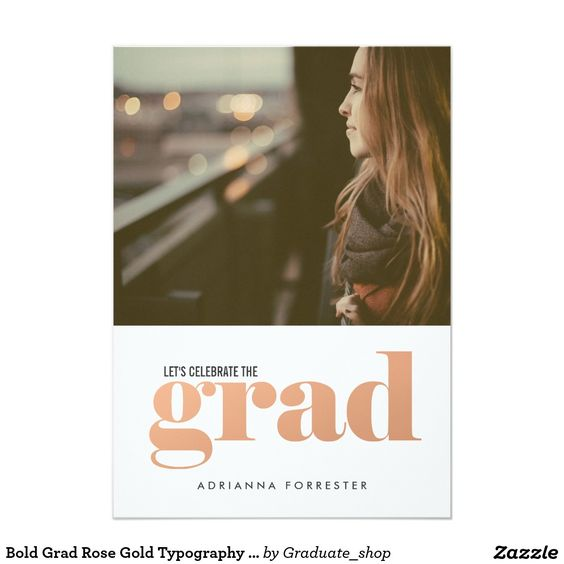Bold Grad Rose Gold Typography Photo Card