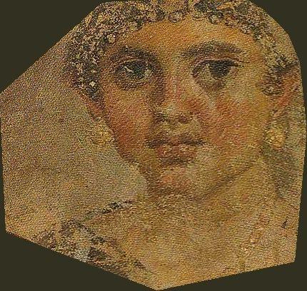 Mumienporträt wohl einer Tochter der Aline, Tempera auf Leinwand, um 24 n.Chr., gefunden in Hawara/Fayum; Ägyptisches Museum Berlin/Altes Museum