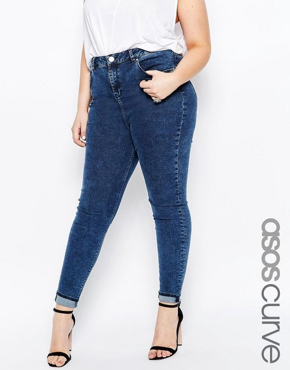 Image 1 of ASOS CURVE Ridley Skinny Jeans in Mottled Wash
