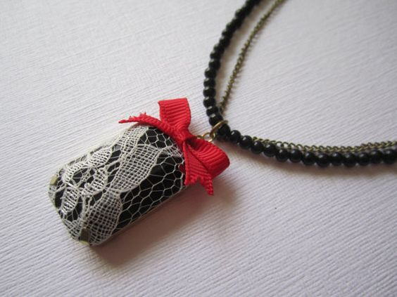 One Of a Kind Handmade Accessories!   Red Bow and Lace Necklace. $18.50, via Etsy.