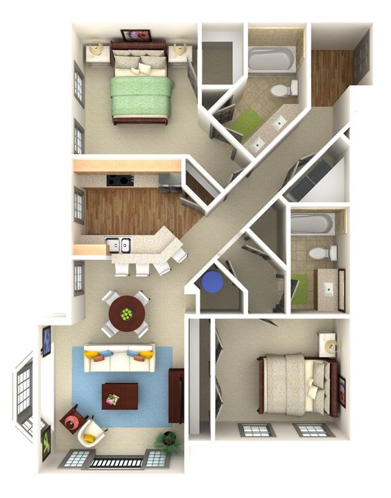 Apartment condo overhead 3d rendering prevision 3d llc for Apartment site plan