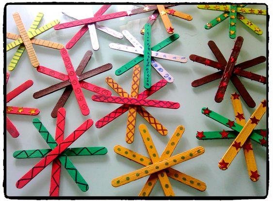noel étoiles de noel bricolage enfant batonnet en bois noel bricolage ...