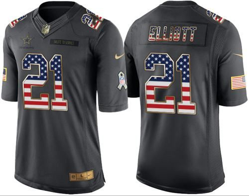 nike cowboys 21 ezekiel elliott black mens stitched nfl limited usa flag salute to service jersey