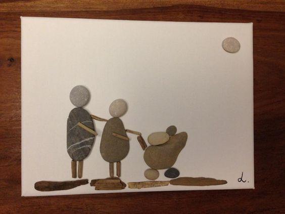 Steinbild auf leinwand elternliebe produkte - Steinbilder auf leinwand ...
