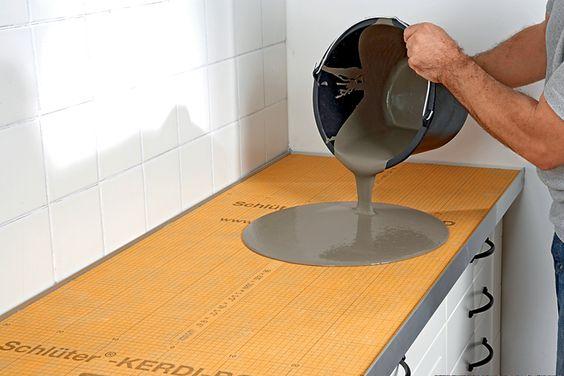 Piano cucina in cemento con Schlüter®-KERDI-BOARD Schlüter - küchen marquardt köln