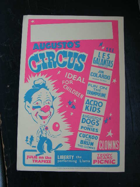 1970s era circus poster pink and yellow in by retrospectvintage2, £8.50