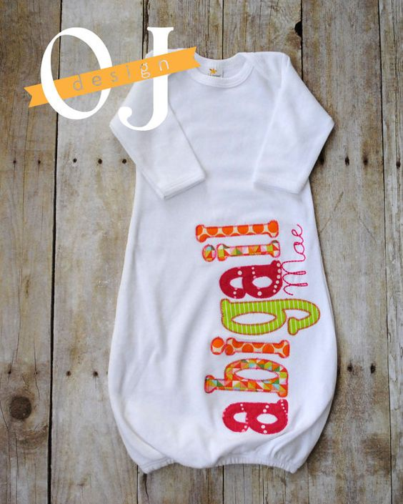 Personalized Name Baby Girl Embroidered Bright Pink by ojdesign