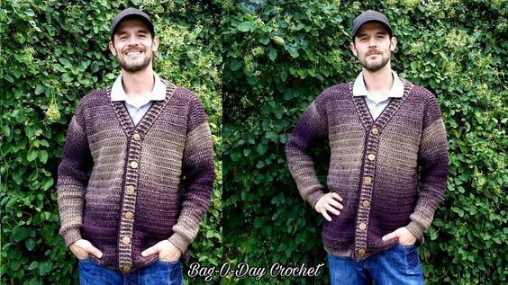 How To Crochet A Mens Cardigan Sweater A Sweater For Pat Bag O Day Crochet Tutorial 527 Youtube Mens Cardigan Sweater Mens Cardigan Crochet Cardigan